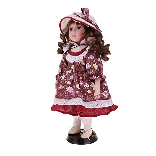 Toygogo 30cm Viktorianische Porzellanpuppe Im Outfit, Stehendes Kleines Mädchen Mit Holzständer, Valentinsgeschenk, Heimbüro Desktop Display Ornamente - (Viktorianische Puppe Mädchen Kostüm)