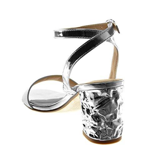 Angkorly Scarpe Moda Sandali Decollete con Tacco Aperto con Cinturino Alla Caviglia Donna Pelle di Serpente Lucide Tanga Tacco a Blocco Alto 7.5 cm Argento