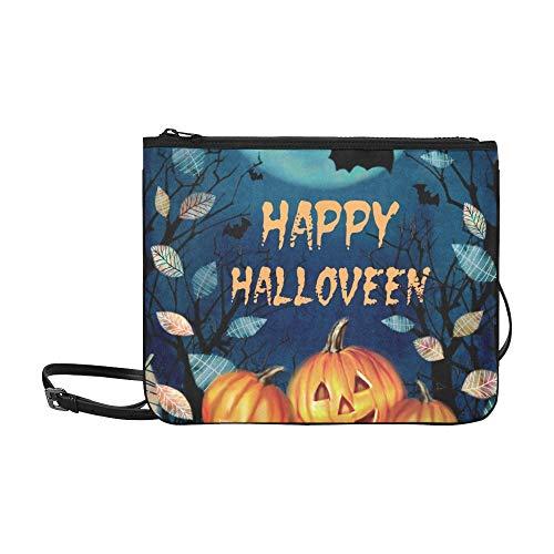 WYYWCY Happy Halloween gruselige Herbst benutzerdefinierte hochwertige Nylon dünne Clutch Bag Cross-Body Bag ()