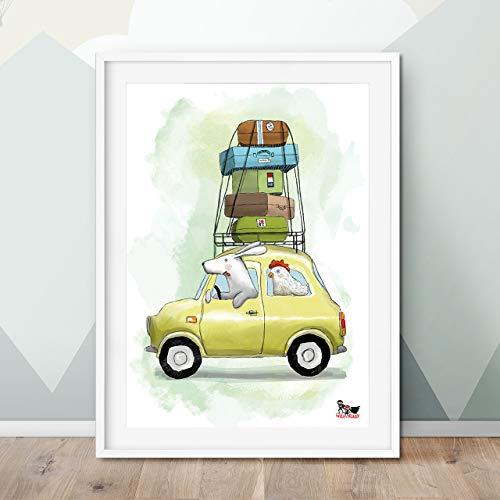 Sommer Gerahmt (Will & Ruby Hund und Huhn, Poster, A4, Kinderzimmer, Print, Deko, Wandgestaltung, Sommer, Tiere, Fun)