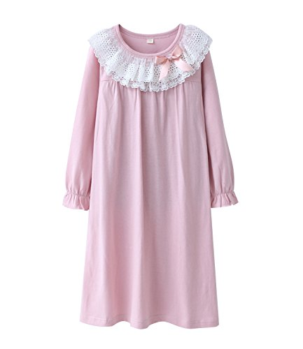 HOYMN Nachthemden für Mädchen Spitze Nachthemd für Herbst-Winter 100% Baumwolle 3-13 Jahre (11-12 Jahre, Rosa)