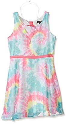 Zunie Big Girls Tie-dye Chiffon Skater Dress with Necklace d44a46557