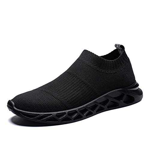 Men Shoes Summer 2019 Casual Shoes for Men Black White Male Sock Shoes Light Weight Slip On Loafers Men Trainers Shoes Black 7.5