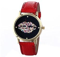Uhr Kolylong Damen Leder Vogue Armbanduhr rote