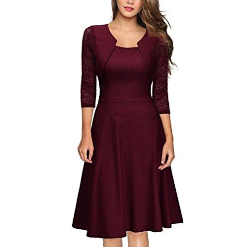 Kleid Wand (Kleid Damen Vintage Spitze 3/4 Ärmel Hochzeit Cocktailparty Kleid)