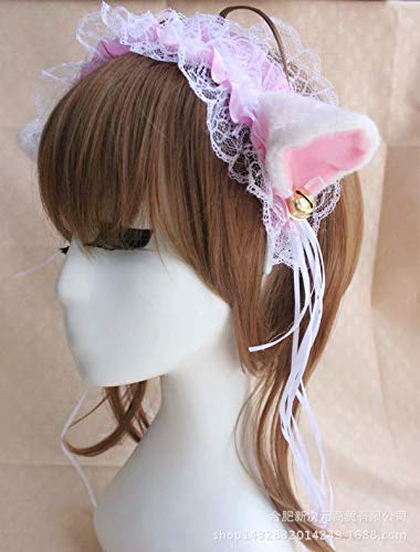 Headband with lace Pleated Cute Cat