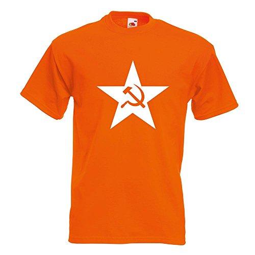 KIWISTAR - Hammer und Sichel Stern T-Shirt in 15 verschiedenen Farben - Herren Funshirt bedruckt Design Sprüche Spruch Motive Oberteil Baumwolle Print Größe S M L XL XXL Orange