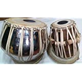 AMAZE Musical Handmade Brass with Nickle Polish Bayan and Sheesham Wood Dayan Tabla Drum Set By Best Indian Professionals with Base, Cover and Hammer- completely hand roped