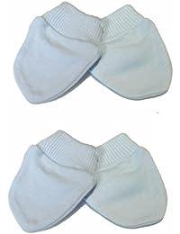 Nouveau-né rayures Lot de 2paires de gants/moufles 100% coton–Bébé Bleu
