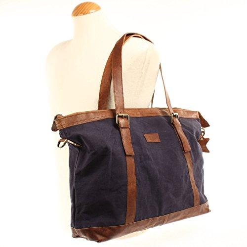 LECONI Weekender Canvas Rindsleder Reisetasche XL Shopper Damen Herren Retro Look 50x36x15cm LE2013-C navy / braun