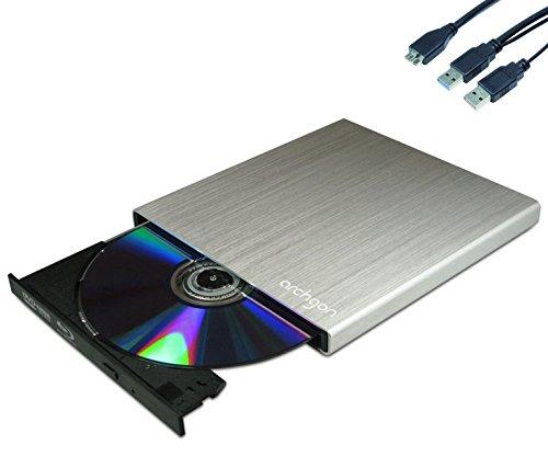 Archgon® MD-8102S-U3+UJ272(S) Star Silber Externer Blu Ray DVD CD Brenner Player Lesegerät (Panasonic UJ-272) mit USB 3.0 - gebürsteten Vollmetall Aluminum Flachrohr Gehäuse - kompatibel mit PC und Mac Macbook Pro, Air, iMac