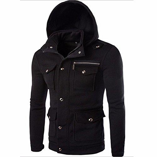 IMJONO Männer Tasche massiv Mantel Jacke Sweater Swearshirt Hoodie Lange Ärmel Outwear(EU-48/CN-XL,Schwarz)