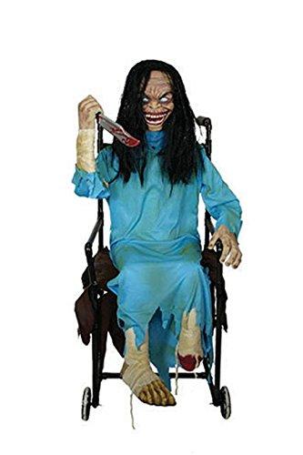 Zauberparty - Halloween Dekoration Horror Puppe im Rollstuhl mit Licht-Sound- Bewegung, 1 Stk., 120cm, (Scary Halloween Puppe)