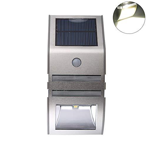 Wasserdichte Outdoor Human Sensor Gartenleuchte mit Solarlicht - Warmes Licht Schwarz Luce Bianca Acciaio Inossidabile # Human Sensor