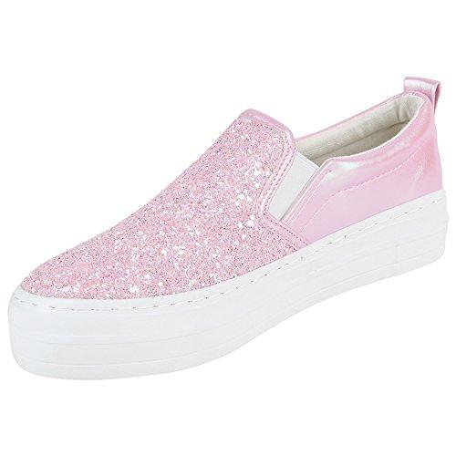 Damen Slip-ons Glitzer Plateau Slipper Metallic Trend Schuhe | Gr. 36-41 | Aktuelle Kollektion Rosa Glitzer Weiss