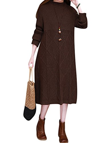 Youlee Donna Inverno Autunno Manica lunga Vestito del maglione Caffè di stile 2