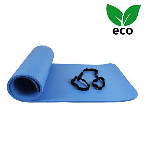 ATIVAFIT Estera de Yoga NBR Premium, Espesor de 12 mm, 173 x 61 x 1,2 cm Esterilla Pilates, para Ejercicios en el Suelo, Gimnasia, Camping, Estiramientos, Abdómenes, Pilates Azul
