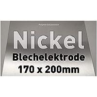 Nickel-Blech 170 x 200 mm, Reinnickel, als Anode/Elektrode (20 x 17 cm) für Nickelelektrolyt/Galvanik, Vernickeln, Nickelanode XL