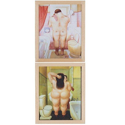 Belssia Cuadros con Diseño Baño Boteros, Madera, 26x4x32 cm