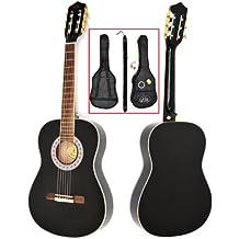 ts-ideen - Guitarra de concierto acústica (1/2, infantil, para niños de 6 - 9 años, madera de palisandro, incluye set de accesorios: funda acolchada, correa, cuerdas y silbato afinador), color negro