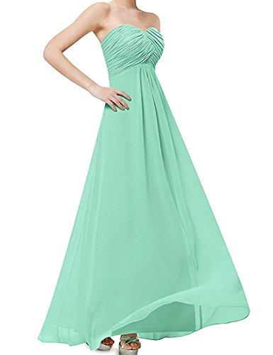 Damen Frauen Brautjungfernkleid Lang Chiffon Abendkleider mit Schnürung Herrlich Herzausschnitt...