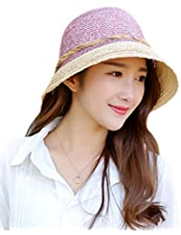 0e7130739f4 Leisial Women Ladies Sun Hat Solid Color Flower Decoration Basin Cap Straw  Beach Hat Foldable and