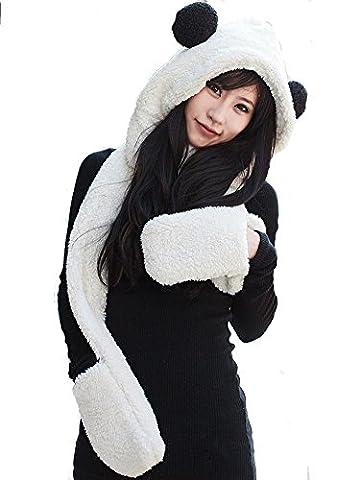 TININNA Winter Furry Long Hoodie Gloves Scarf Shawl Wrap Earflap Hat Cap Set for Women Girls White