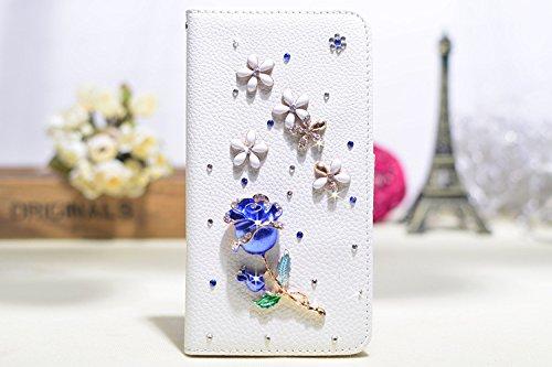 Coque iPhone 5C , iNenk® Sac à main Case w/carte ID titulaire blanc luxe 3D la main paillettes Bling diamant perle Crystal portefeuille pochette carte-Ange Fée Rose bleue