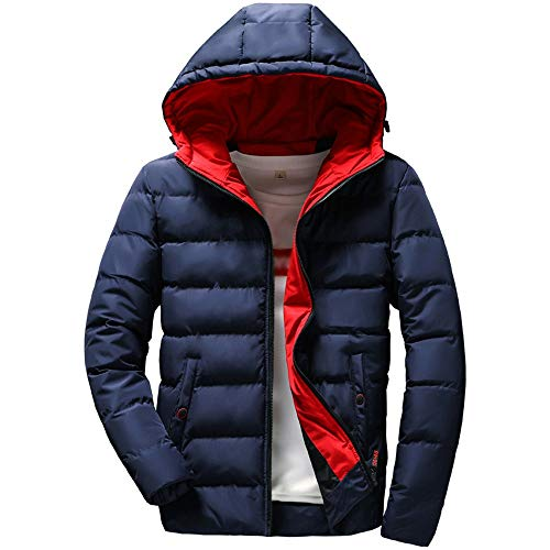 JiaMeng Hombre Invierno Cazadoras De Plumas Calor Grueso Casual cálido Abrigo de Invierno con Capucha con Cremallera Outwear Chaqueta Blusa Superior