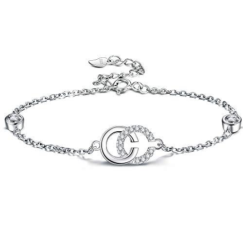 Lydreewam Armband Damen 925 Sterling Silber Initiale Doppel C Anhänger Armkette mit 3A Zirkonia, Einstellbar 19 cm