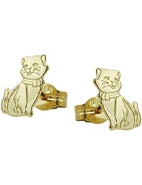 Unbespielt Schmuck Ohrschmuck Echt Gold Ohrringe Ohrstecker Katzen Damen aus 333 Gelbgold 8 kt teilmattiert 8...