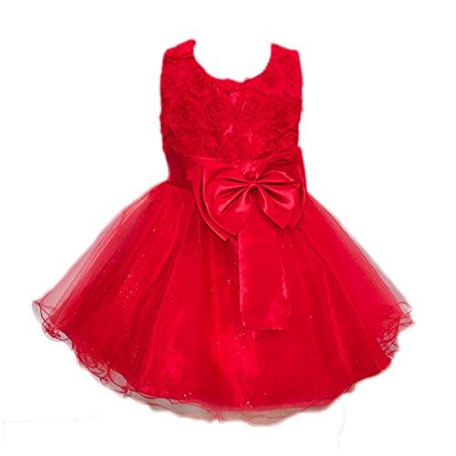 aby Mädchen Bling Pailletten Ärmellos Brautjungfern Tutu Prinzessin Kleid Abendkleid Geburtstag Weihnachten Party Kleider(3T,Rot) (Chuck Kostüme)