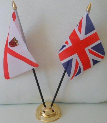 Jersey, Kanalinseln, Union-Jack-Flagge, Freundschaft Tabelle 2-Kopf mit goldfarbenem Sockel -