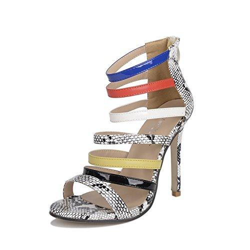 GS~LY Regali Festa della mamma Lotta cava di colore sandali tacchi alti Serpentine