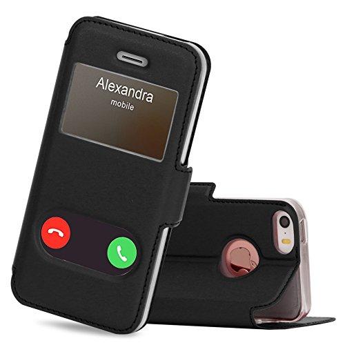 FYY Coque iPhone Se, Coque iPhone 5S, Coque iPhone 5, Housse Magnetique Smart View avec Fenêtre d'Ouverture pour Apple iPhone SE/5S/5 Noir