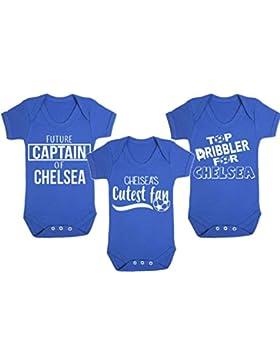 Set di 3Chelea Football gilet bebè pagliaccetto fan del calcio Baby Football regali