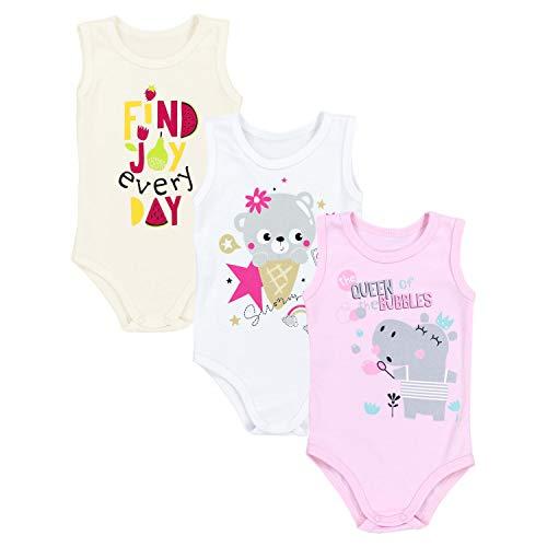 TupTam Baby Mädchen Achselbody mit Print 3er Pack, Farbe: Farbenmix 1, Größe: 104 Pack-kleidung