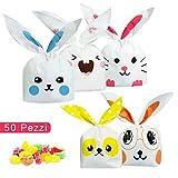 ARTMOVA 50 Pezzi Sacchetti Compleanno,Sacchetto per Caramella Confetti Borsa di Regalo Sacchetto Coniglietto di Forma del Coniglio Sacchetti di Biscotto