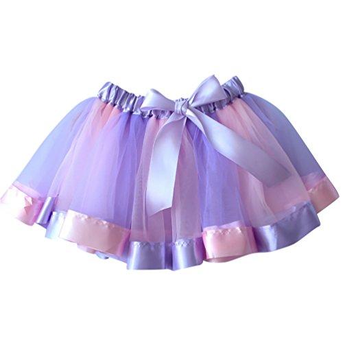 NiSeng Mädchen Tüllrock Tutu Ballettrock Regenbogen Pettiskirt Bowknot Tanzkleid Ballettrock Minikleid Fasching Cosplay Verkleiden (Regenbogen Tutu Kinder)