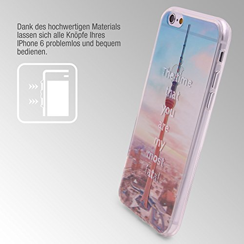 Urcover® Semi Softcase Hülle | Apple iPhone 6 Plus / 6s Plus | TPU Muster Tokyo Tower | KAMERASCHUTZ | Handyhülle | Cover Back-Case Handyschutz Fernsehturm