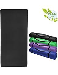Esterilla colchoneta –de yoga HAPPY 185 cm x 80 cm x 1.5 cm para fitness deportiva pilates gimnasia ejercicio, Color:Combat Black
