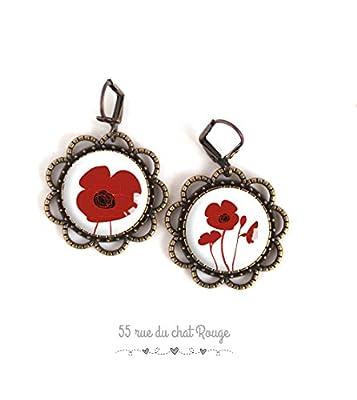 Boucles d'oreilles cabochon, coquelicot rouge, fleurs, rouge et blanc