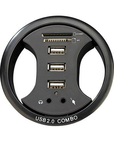 Xystec - Organizador de cable para mesa con hub para 3 USB,...