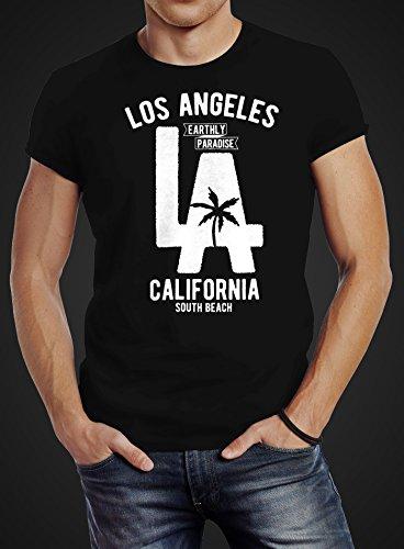 Neverless Herren T-Shirt Los Angeles California LA Palme Slim Fit Schwarz