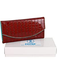 Zoster Cherry Red & Turquoise Blue Flap Closure Artificial Leather Wallet For Women