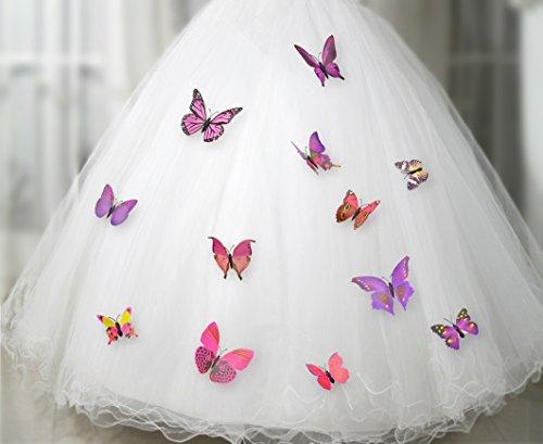 FiveSeasonStuff® 24-Stück Gute Qualität Schmetterlinge im 3D-Stil, Wanddekoration Mit Kühlschrank Magnet und Klebe Schmetterlingssammlung / Wandtattoo Wand Aufkleber Schmetterlinge / 3D Schmetterlingsmotiv (24 Stücke Mischen Purpurartiges Rosa 3D Stil Schmetterlinge mit Sicherheitsnadeln für Kleider Vorhänge Kleider HJ014)