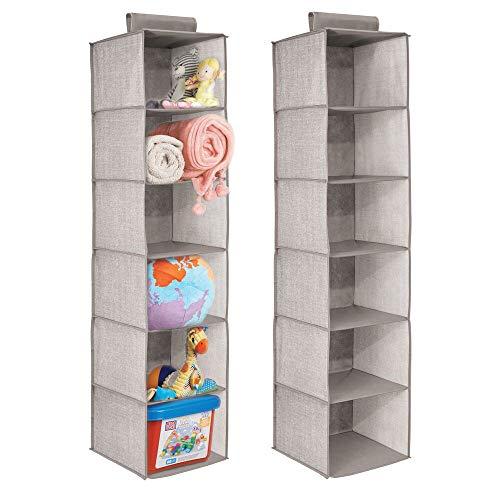 mDesign rangement table a langer – rangement pour dressing – colonne de rangement avec 6 étagères – gris