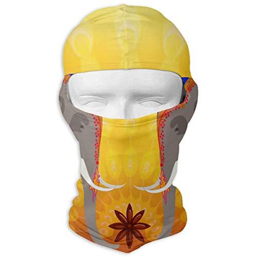 Jxrodekz Elefantes Indios y Pavos Reales en Amarillo Máscara Facial para Motocicletas...