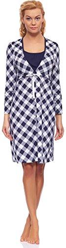 Italian Fashion IF Damen Stillnachthemd M003 Dunkelblau/Weiß(Ines)
