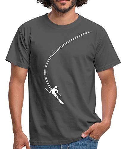 Skifahren Schwungvolle Abfahrt Skifahrer Männer T-Shirt, L, Graphite